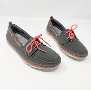 🌈NIB Clarks Cloudsteppers Gray Pink Boat Shoes